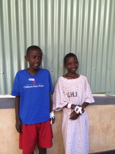 Eric, who was our first patient on friday, is doing great! Precious is being flown to the US next week to receive an operation